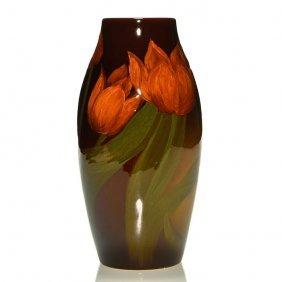 "Rookwood Standard Vase, Tulips, Hurley, '03, 10"""