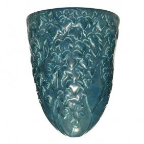 "Rookwood Blue Mat Wall Pocket, English Ivy,7 5/8"""