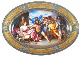 A VIENNA OVAL DISH, CIRCA 1825 Painted With A Scene