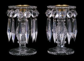 A PAIR OF CUT-GLASS TABLE LUSTRES, 19TH CENTURY Eac