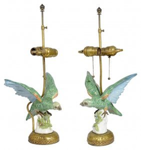 A Pair Of Porcelain Parrot Figures, French Or German,