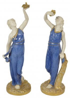 A Pair Of Royal Worcester Figures Of 'liberty' And