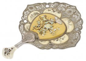 ˜a Japanese Silver, Ivory And Inlaid Lacquer Fan-shaped