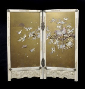 ˜a Japanese Ivory And Lacquer Table Screen, Meiji