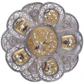 ˜a Japanese Silver And Inlaid Lacquer Dish, Meiji