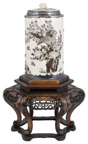 ˜a Large Inlaid Ivory Silver-mounted Tusk Vase And