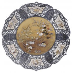 ˜a Japanese Inlaid Ivory And Silver Dish, Meiji Period