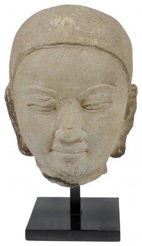 A Mon Chalk Stone Head Of Buddha, Thaton, Burma (now