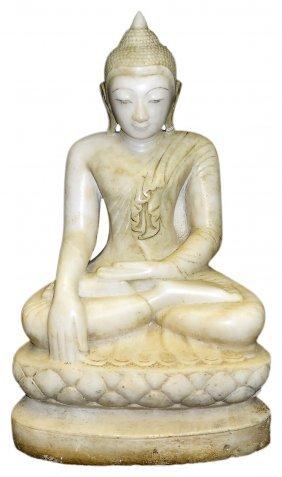 A Marble Figure Of Buddha, Burma (myanmar), 19th