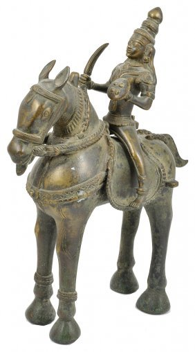 A Large Bronze Figure Of Khandoba On His Horse South