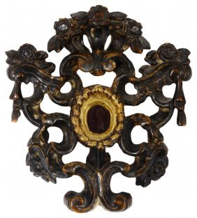 An Italian Carved Giltwood Reliquary Frame, 18th