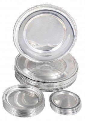 A Set Of Twelve Italian Silver Side Plates, Felice
