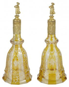 A Pair Of German Silver-gilt-mounted Bohemian Glass