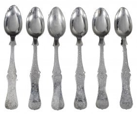 A Set Of Six Ottoman Silver Dessert Spoons, Turkish,