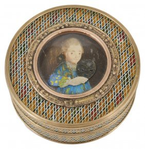 ˜a French Gold-mounted Vernis Martin Picture Snuff Box