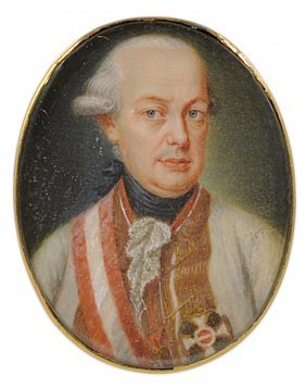 ˜a Portrait Miniature Of Holy Roman Emperor Leopold Ii,