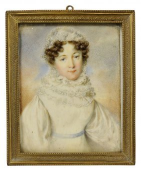 ˜a Portrait Miniature Of A Lady, Signed C. A*, English