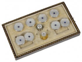 Gentleman's Mother Of Pearl And Sapphire Dress Set,