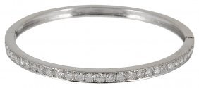 Diamond Hinged Bangle Set To The Front With A Row Of