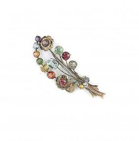 Multi Coloured Gem Stone Brooch Designed As A Floral