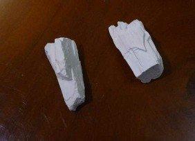 Mammoth (Mammuthus Primigenius), 2 Chalk-like Frag