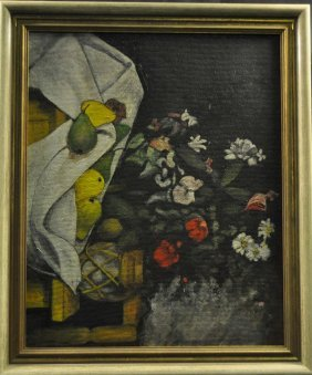Fruit Still Life With Flower T, Oil On Painting Board,