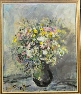 "RUZKER, ""Summer Bouquet In Vase"", Oil On Canvas"