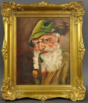 """LONG, T. """"pipe Smokers"""", Oil On Canvas, Framed Unanimou"""