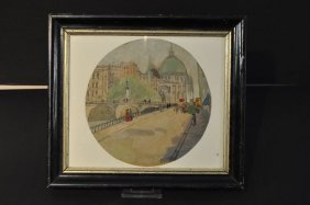 """Berliner Dom"", Round Watercolor, Unsigned, Framed Behi"