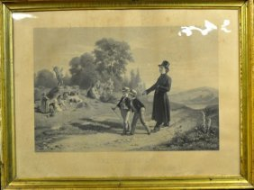 "Old Engraving, ""The Sunday Walk,"" Engraved After A Pain"