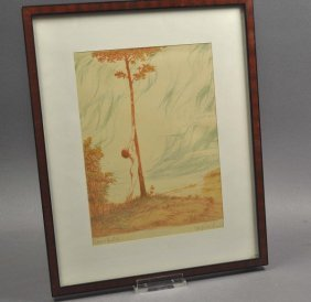 "Color Lithograph, ""vitality"", Framed Under Glass, Signe"