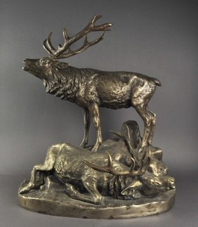 Wolters, G.-size Bronze Sculpture Of Two Deer After The