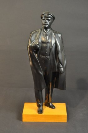 """Lenin, Standing"" Blacked Out On Wooden Base, Unsigned,"