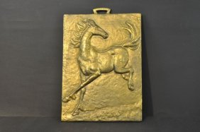 Wall-relief In Bronze, Jumping Horse With Polished