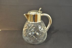"Crystal Pitcher, ""Cold Duck"", Glass Insert Missing, Sil"