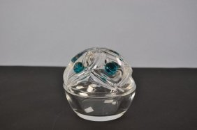 "Round Glass Container With Lid, ""Lalique"", Applied Turq"