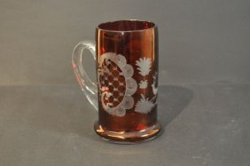 Glass Pitcher, Bohemia, Ruby-colored Glass Gel�stert Cl