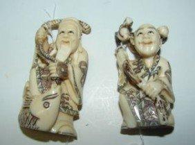 "2 Ivory Oriental Netsukes 2"""