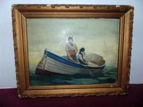Painting Of Fisherman In Boat