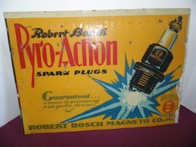 Robert Bosch Pyro Action Spark Plug Tin Litho Sign