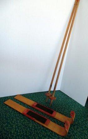 Child's Wood Ski Set