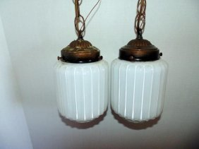 Pair Of Hanging Ribbed Lights