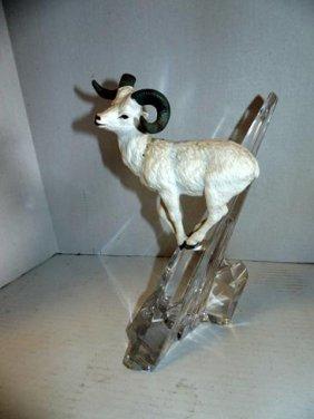 Porcelain Goat On Crystal Rock