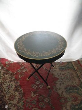 Metal Folding Stencil Decorated Table