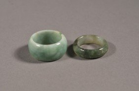 Pair White & Green Jade Rings