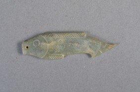 Archaistic Chinese Green Jade Pendant Fish