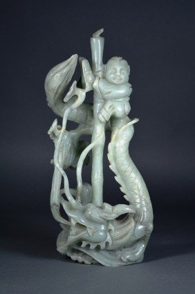 Chinese Carved Jade Liu Hai & Dragon