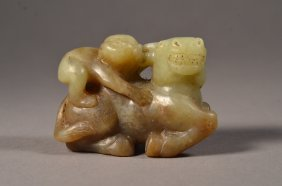 Chinese White/Green Jade Carving Boy Atop Cow