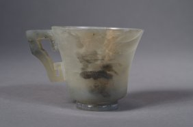 Chinese White Jade Cup With Handles