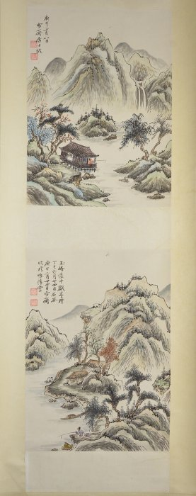 Fu Boashi Chinese Watercolour Hanging Scroll